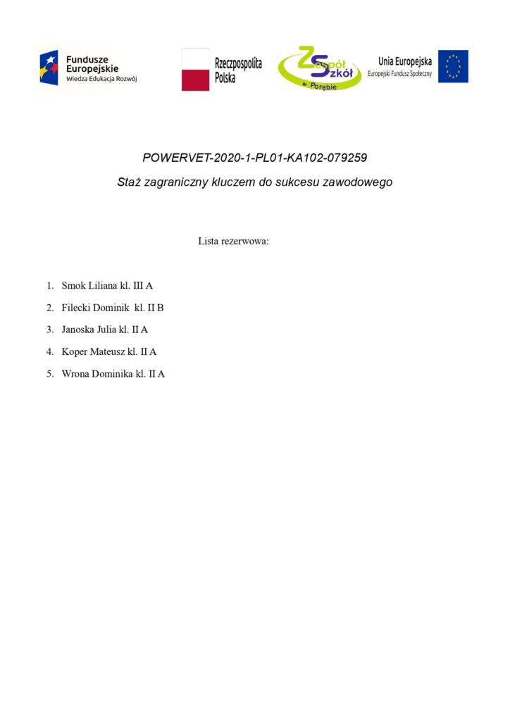 Lista rezerwowa do projektu Erasmus+