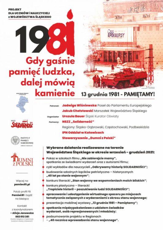 """""""Gdy gaśnie pamięć ludzka, dalej mówią kamienie – 13 GRUDNIA 1981 - PAMIĘTAMY!"""""""
